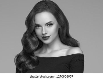 Monochrome beautiful woman with long beauty hair