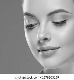 Monochrome beauty skin care woman healthy skin face close up