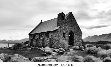 Monochrome black and white Antique church with iceberg background at new zealand in cloudy day on winter