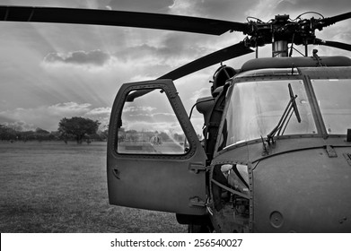 monochrome black and white Front view of military helicopter cockpit