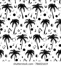 Monochrome black and white tropical palm tree hand drawn sketch seamless pattern texture background