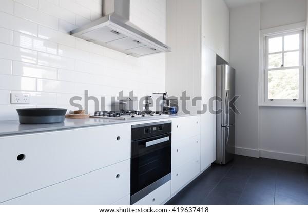 Monochrome Clean White Kitchen Bench Top Stock Photo (Edit ...