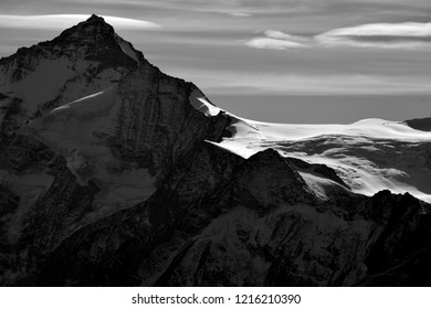 Monochrome of the Dent Blanche in the Southern Swiss Alps between above Zinal. Caught in the evening sun