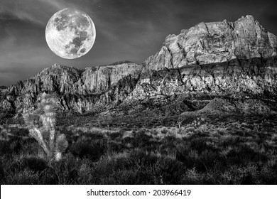 Monochrome of desert mountains and joshua trees under a full moon