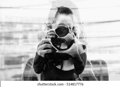 Monochrome double exposure of girl portrait taking photos