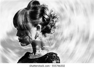 Monochrome double exposure of woman profile portrait and sea foam