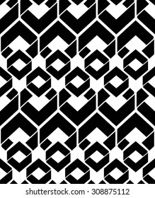 Monochrome endless texture with geometric figures, motif abstract contemporary geometric background. Creative black and white symmetric continuous pattern.