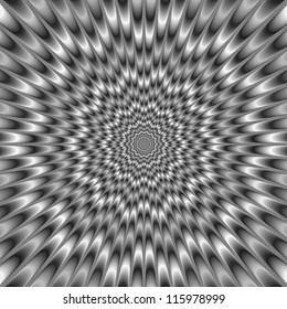 Monochrome Eye Bender/Digital abstract image with a psychedelic design producing the illusion of movement in monochrome black and white.