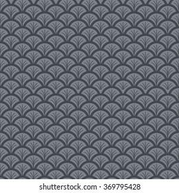Monochrome fish scale seamless pattern