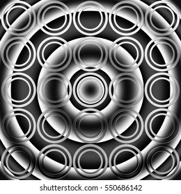 monochrome geometric background with a circles pattern