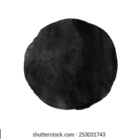 Monochrome grey circle watercolor texture paint isolated. Closeup