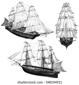 Monochrome illustration of ships