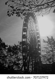 A monochrome image of the Belfast Wheel in the soft diffused evening light of a day in December