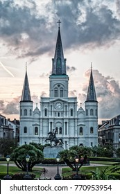 Monochrome image of the St. Louis cathedral in New Orleans at sunset