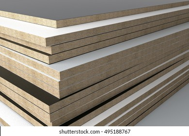 Monochrome laminated chipboard panel without PVC edge. 3D render.