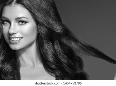 Monochrome long hair woman beauty and healthy