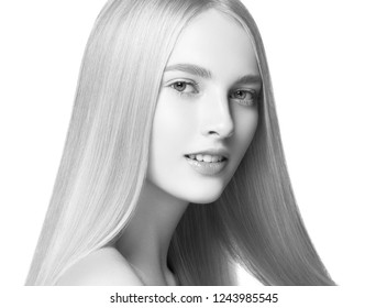 Monochrome long smooth hair woman portrait with healthy skin and natural makeup
