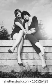 Monochrome memories of pretty women couple