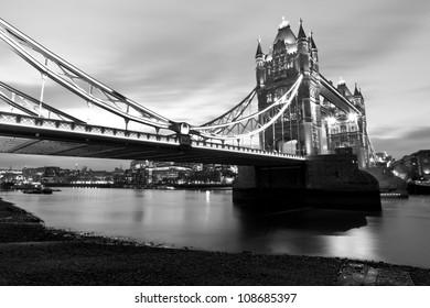 Monochrome night shot of Tower Bridge