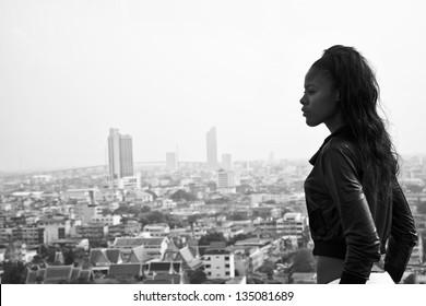 Monochrome photo black girl backlit