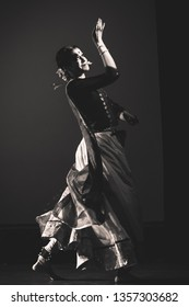 A monochrome photo of Senior renowned Kathak artist at the 'Kathak recital event' held on March 29,2018 at Sevasadan hall in Bengaluru,India