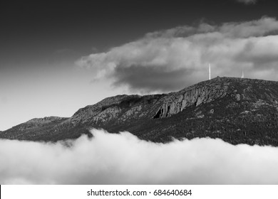 Monochrome photograph of the view of Kunanyi / Mt. Wellington from Shag Bay