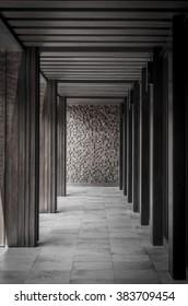 monochrome pictures corridor has a beautiful design.
