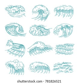 Monochrome pictures set of marine waves with different splashes. illustration in hand drawn style. Water wave sea and ocean, marine flow splash and swirl