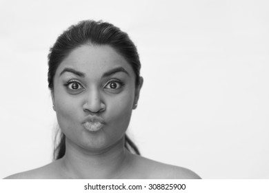 monochrome portrait of asian woman on white background