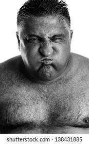 Monochrome portrait of an expressive man