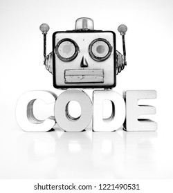 monochrome robots head with the word code  bright image