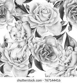 Monochrome seamless pattern with flowers. Rose. Eustoma.   Watercolor illustration.Hand drawn.