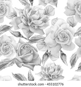 Monochrome seamless pattern with roses. Watercolor. Hand drawn.