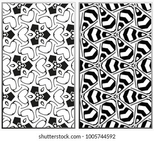monochrome seamless patterns set, abstract geometric texture. Ornament for interior design. Repeating abstract background with chaotic strokes.