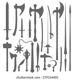 monochrome set solid silhouette design various medieval cold steel arms weapon collection isolated white background