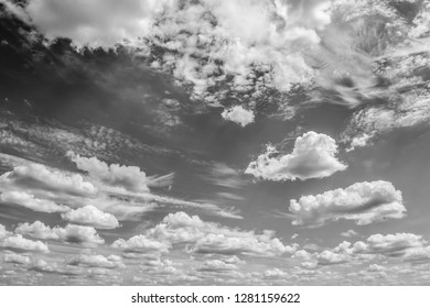 Monochrome sky with clouds