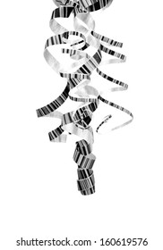 Monochrome Striped Hanging Curly Party Streamers isolated on white background