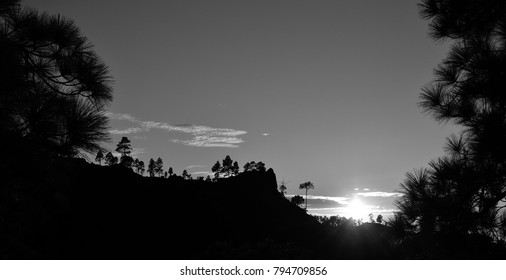 Monochrome sunset, natural park of Pilancones, summit of Gran canaria, Canary islands