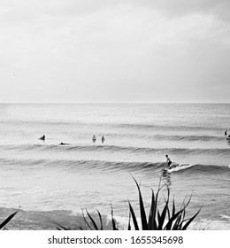 Monochrome surf scene at Snapper Rocks beach, Coolangatta, Gold Coast. Waves roll into shore along the sand bottom point break. A large group of surfers enjoy the small swell and surf surfboards