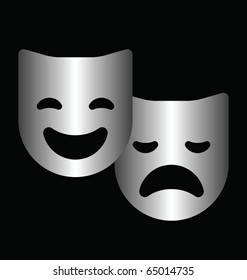 Monochrome theater masks isolated on a black background