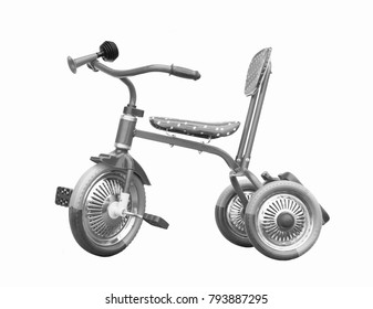 Monochrome three-wheeled baby bicycle insulated on white background