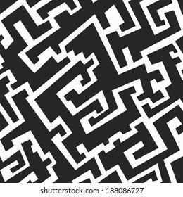 monochrome tribal seamless pattern (raster version)