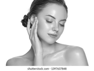 Monochrome woman beauty face healthy skin