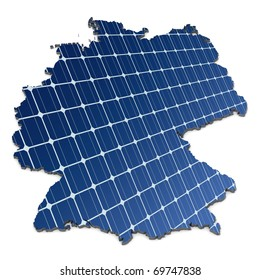 mono-crystalline solar cells in an abstract map of Germany