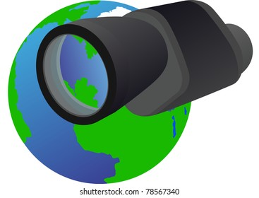 Monocular - optical instrument shown in the background of the Earth.