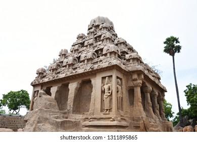 """Monolithic Dharmaraja Ratha of Pancha Rathas (Five chariots) - Group of Monuments in Mahabalipuram, Tamilnadu, South India."