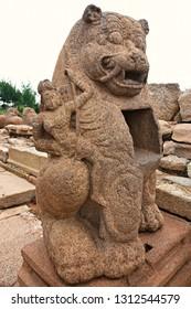 """Monolithic Lion Shrine inside the Shore temple of Mahabalipuram, Tamilnadu, South India"""