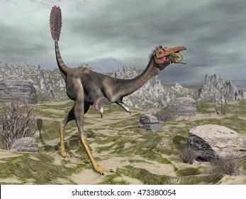 Mononykus dinosaur eating a lizard gecko walking in the desert next to tamaris trees - 3D render