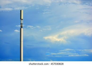 Monopole Cylinder Disguised Cell Tower Against Blue Skies