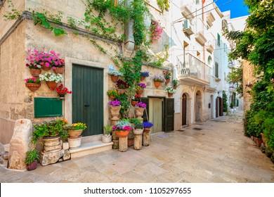 MONOPOLI, ITALY - MAY 13, 2018: Scenic sight in Monopoli, Bari Province, Apulia, southern Italy.